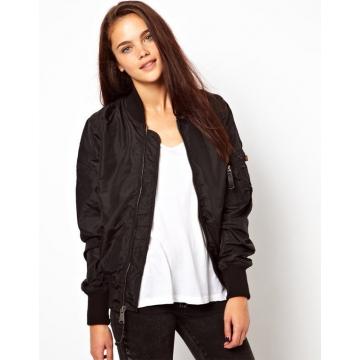Street wave pure color zipper jacket jacket female explosion models black m