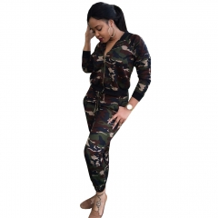 Casual suit new women 's explosive paragraph camouflage suit   Jacket + pants as the picture s