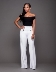 The new European and American solid color casual pants sexy short - sleeved + wide leg pants as the picture l