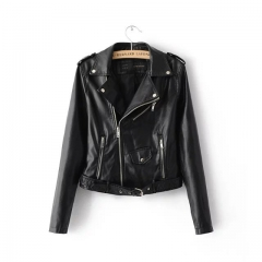 The new fashion lapel waist candy colored PU motorcycle zipper leather jackets jacket women black s
