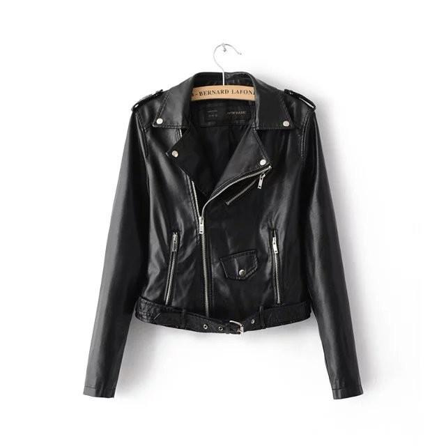 The new fashion lapel waist candy colored PU motorcycle zipper leather jackets jacket women black m