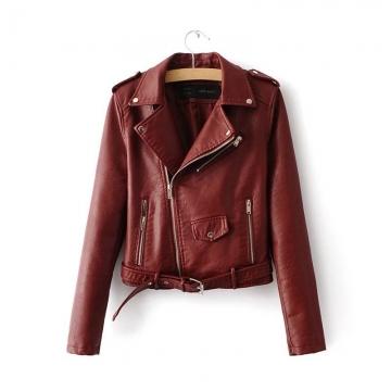 The new fashion lapel waist candy colored PU motorcycle zipper leather jackets jacket women wine m