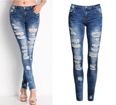 The new hole jeans female Slim stretch Europe and the United States female autumn pencil pants blue s
