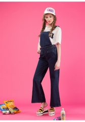 The new retro - style women 's strap jeans horn leg large size loose strap pants dark blue s