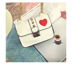 New handbag trend PU package bag lock minimalist fashion leisure Xiekua package heart chain white one size