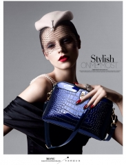 Europe Big bag fashion trends  all-match crocodile handbag shoulder bag shell cross temperament blue one size