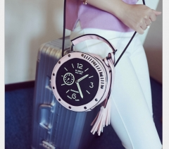 New handbag  clock cylinder Shoulder Messenger Bag Korean fashion color buns pink one size