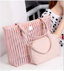 Transparent bag 2016 new summer beach jelly bag shoulder bag handbag one generation pink one size