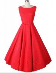 Blasting retro paragraph Hepburn wind lace crochet sleeveless waist thin dress red s