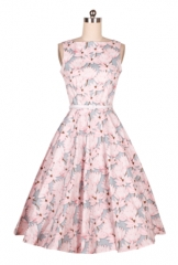Retro Hepburn wind dress with gray collar lotus collar collar flared skirt as the picture s