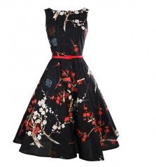 Black Plum Blossom Cotton Slim Retro Big Pendent Dress as the picture s
