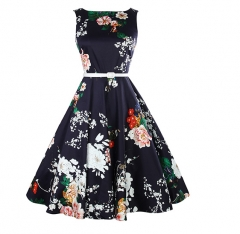 Peony retro high waist large swing skirt waist thin dress dress in the palace court dress as the picture s
