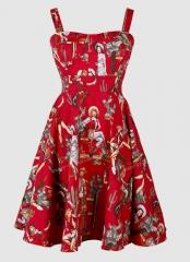 Hepburn retro print skirt waist was thin Pompon beach skirt harness dress red s