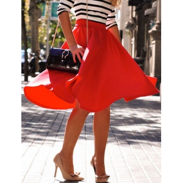 Multi-color solid knee-length skirt OL wild wild skirts red l