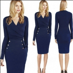The new women's dress hot V neck long sleeve dress pure color Deep blue s