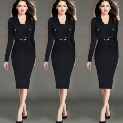 2017 Hot New Europe  foreign trade women's dress business wear Black s