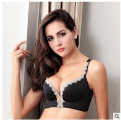 Seamless steel ring free drawing sexy lace underwear gather adjustable bra black 70A