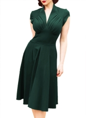 Women fashion Vintage Hepburn wind 50s waist slim elegant dress green s