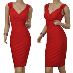 2017 new sexy slim package hip pencil skirt dress red s