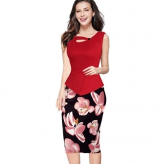 ZINC NEWbusiness hot stamp mosaic pencil skirt package hip dress red+flower s