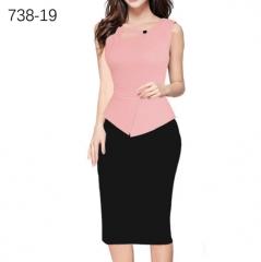 ZINC NEWbusiness hot stamp mosaic pencil skirt package hip dress pink+black xxl