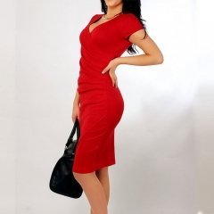 2017 summer fashion dress collar white-collar occupation asymmetric V size candy colored dress red s