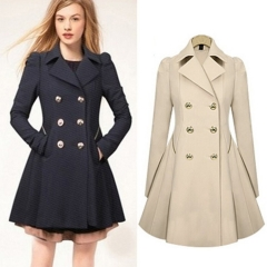 Women's jacket double-breasted long sleeves in a long section of pure color Slim trench coat black s