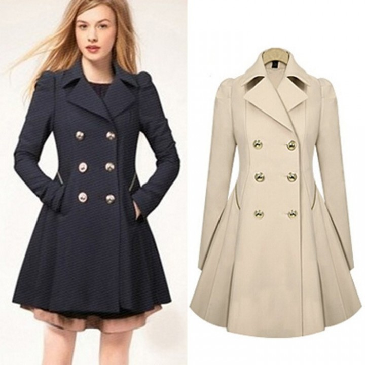 Women's jacket double-breasted long sleeves in a long section of pure color Slim trench coat black l