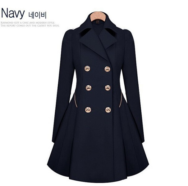 Women's jacket double-breasted long sleeves in a long section of pure color Slim trench coat navy xxl
