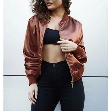 ZINC Long sleeve zipper fashion personality jacket Coffee m