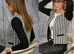 The new fashion women's European temperament  grid stitching short jacket as the picture s