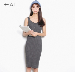 Leisure package hip long section vest skirt casual sleeveless stretch dress skirt grey one size