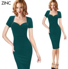 ZINC Hot new business dress trade fake two-piece sleeve pencil skirt green s