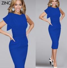ZINC The new lotus leaf sleeves fold fold stretch skirt dress blue s