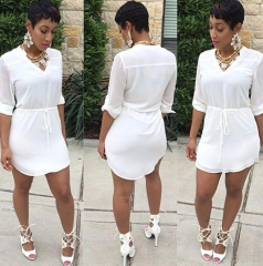 European fashion loose dovetail large size shirt white s