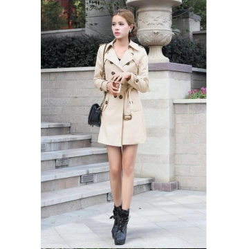 The European new coat women's jacket Slim waist belt windbreaker khaki m