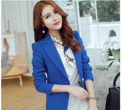 Slim thin long sleeves black small suit jacket Ms. wild short suit blue s