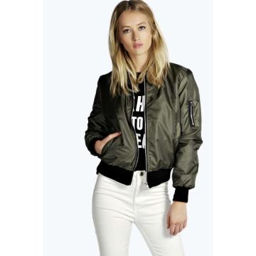 New solid color zipper jacket female coat green l