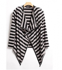 Fashionable Stripe Color Block Long Sleeve Coat For Women black+white one size