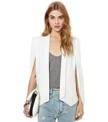 Single Breasted Plain Lapel Split Casual Office Ladies Fashionanble Blazer white s