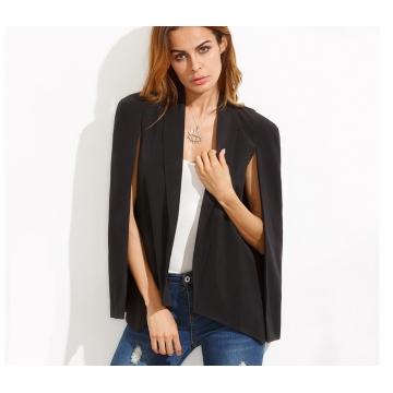 Single Breasted Plain Lapel Split Casual Office Ladies Fashionanble Blazer black s