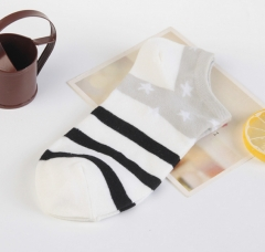 3 in1 Hot sale Female cotton breathable comfortable wear socks black+grey one size