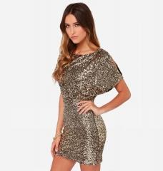ZINC Metal sequins Slim thin bag hip dress sexy nightclub open halter dress golden s