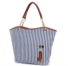 Concise Korean striped canvas bag new summer shoulder bag all-match leisure shopping bag blue one size