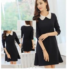 ZINC Fashion Slim thin long sleeve elegant women's dress black s