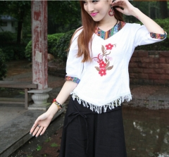 Chinese Personality ethnic wind short embroidered shirt women flower M