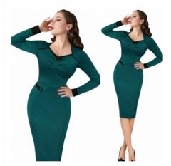 ZINC Women's  Vintage Elegant  V-neck Long Sleeve  Pencil Sheath Dress green s