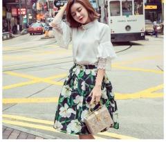 Women's vintage elegant flower print skirt as the picture m