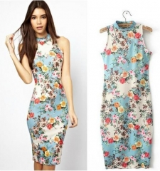 ZINC Retro floral national wind self-cultivation sleeveless package hip dress as the picture s
