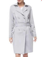 Chic Turn Down Collar Long Sleeve Double-Breasted Lace-Up Women's Trench Coat light gray s